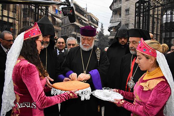 Blessing bread and salt at the Holy Trinity Zvartnots Catholic Church