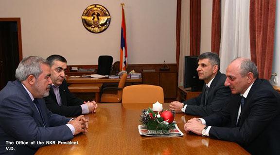 Representatives of the ARF Hrant Markarian and Armen Rustamyan met with Artsakh President Bako Sahakian on Jan. 12, 2017 (Photo: president.nkr.am)