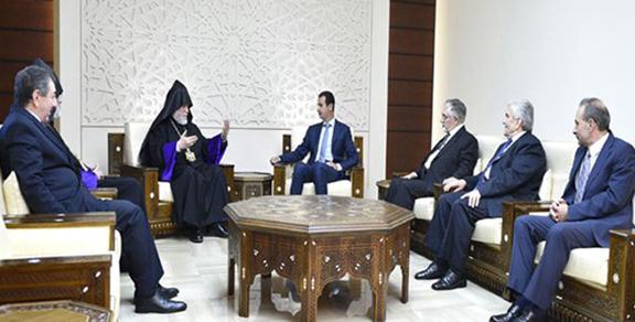 A scene from the meeting between Syrian President Bashar al-Assad and Catholicos Aram I (Photo: Sana)
