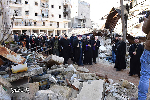 Catholicos Aram I and his entourage at Aleppo's Forty Martyrs church