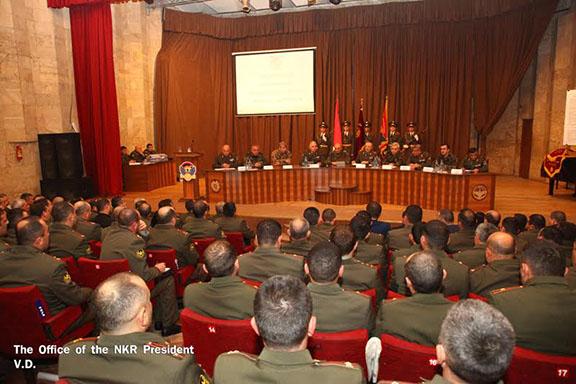 President Sahakian meets with Defense Army representatives in Stepanakert on Jan. 21 (Photo: president.nkr.am)