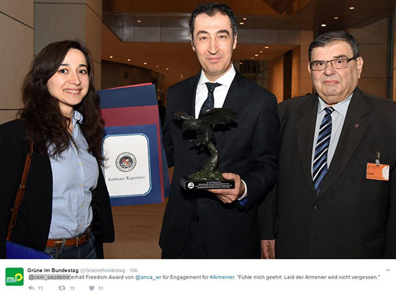 Cem Ozdemir and German Bundestag Accept Delivery of 2016 ANCA-WR Freedom Award from left:  EAFJD EU Affairs Officer Heghine Evinyan, 2016 Freedom Award Recipient German Parliament Member Cem Ozdemir, and EAFJD Chair Kaspar Karampetian.