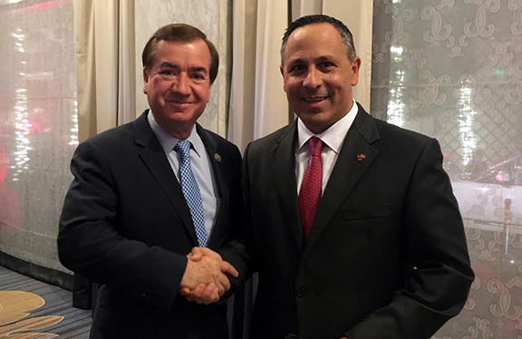 House Foreign Affairs Committee Chairman Ed Royce (R-CA) with ANCA Chairman Raffi Hamparian discussing Millennium Challenge Corporation funding opportunities for Armenia.