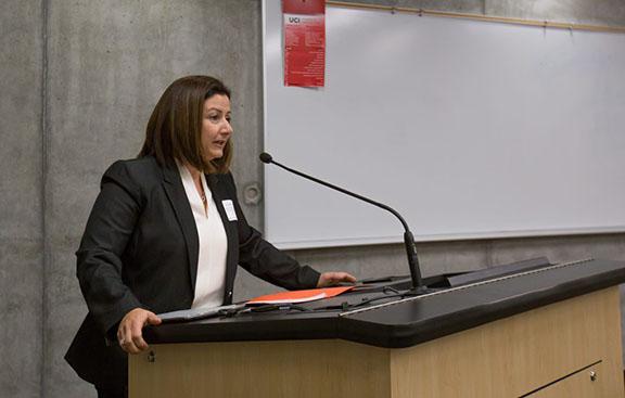 Houri Berberian, Chair of Armenian Studies at UC Irvine, addresses the audience (Photo: UCI News)