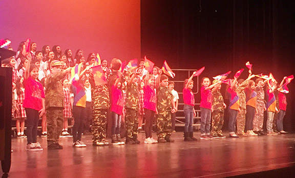 The evening's finale featured Chamlian students waving the tri-color and the Artsakh and ARF flags