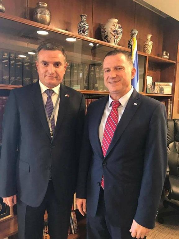Armenia's National Assembly Foreign Relations Committee Chairman Artak Zakaryan (left) meets with Israeli Knesset Speaker Yuli-Yoel Edelstein in Jerusalem on Jan. 19, 2017 (Photo: parliament.am)