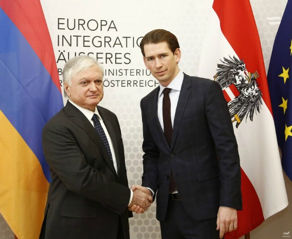 Armenian Foreign Minister Edward Nalbandian meets with the OSCE Chair-in-Office Sebastian Kurz in Vienna on Jan. 27, 2107 (Photo: mfa.am)