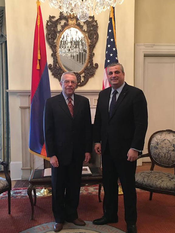 Armenia's Ambassador to the U.S. Grigor Hovhannnisyan (right) receives U.S. Co-Chair of the OSCE Minsk Group, Richard Hoagland (Photo: Embassy of Armenia to the United States Facebook Page)