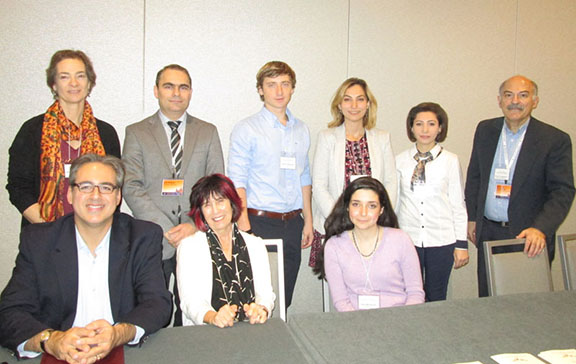 """Front row, left to right: Marc Mamigonian, Carel Bertram, and Helen Makhdoumian. Standing, left to right: Margaret Manoogian, Vahe Sahakyan, Anatolii Tokmantcev, Shushan Karapetian, Sona Nersisyan, and Barlow Der Mugrdechian at the SAS sponsored conference on """"Armenians in America."""""""