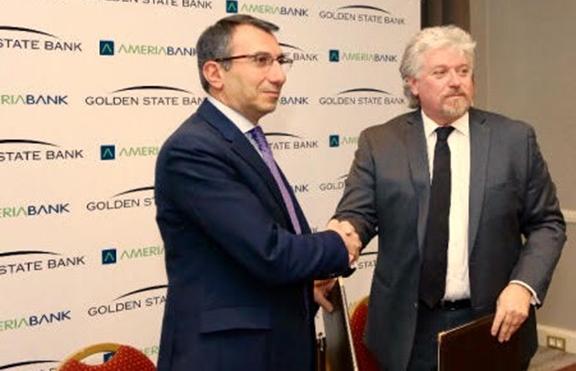 Artak Hanesyan (left), CEO of Ameriabank, with Dr. Viken Hovsepian, Vice President of Golden State Bank after signing a memorandum of understanding (Photo: Ameriabank)