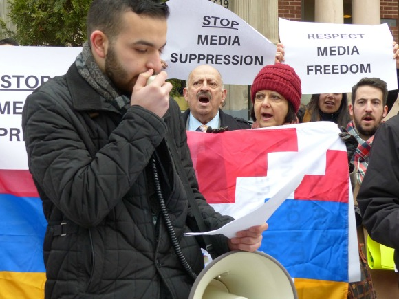 DC Armenian Americans protest Alexandr Lapshin's impending extradition to Azerbaijan in front of Belarus Embassy