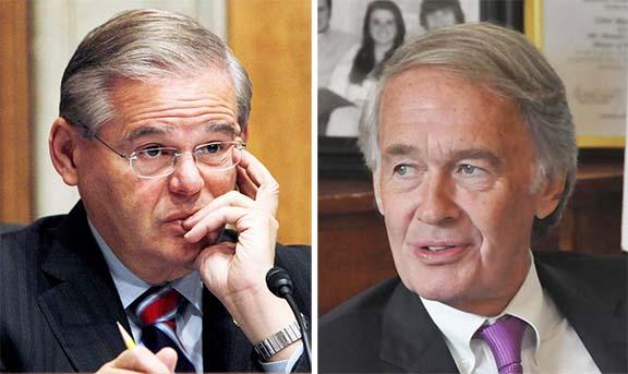 Senators Robart Menendez (left) and Ed Markey