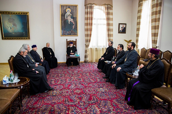 A scene from the meeting at ETchmiadzin headed by Catholicos Karekin II and leaders of the Istanbul Patriarchate