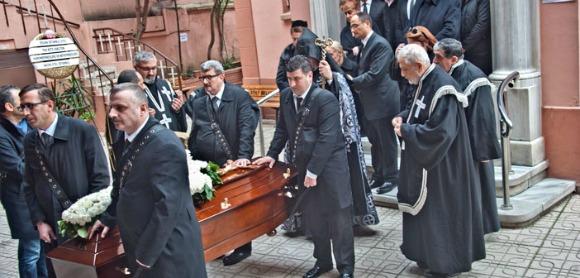 The funeral ceremony of Hagop Yakup Demirci was held in Feriköy Surp Vartanants Church on Feb.10, 2016 (Photo: Berge Arabian)