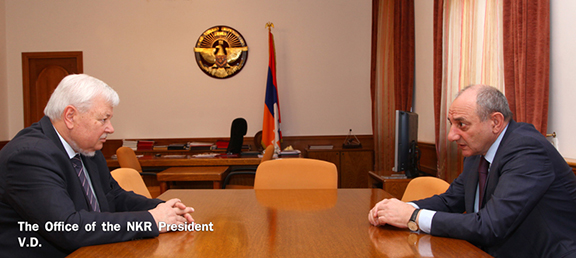 Artsakh President Bako Sahakian (right) meeting with Personal Rep. of the OSCE Chairman-in-Office Andrzej Kasprzyk on Feb. 28, 2017 in Stepanakert