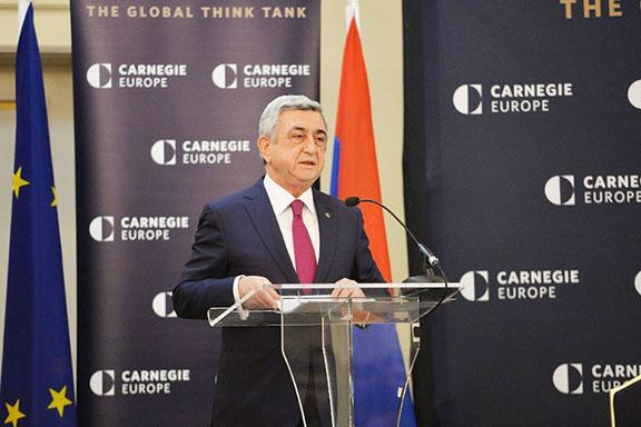 President Serzh Sarkisian speaks at the Carnegie Endowment for International Peace  in Brussels