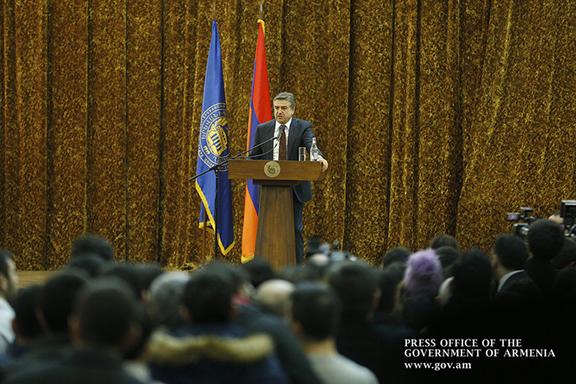 Prime Minister Karen Karapetian speaks at Yerevan State University on Feb. 15, 2017 (Photo: Government of the Republic of Armenia)