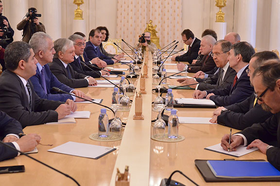 Nalbandian meets with Lavrov in Moscow on Feb. 22, 2017 (Photo: Russian Ministry of Foreign Affairs)