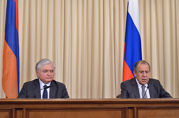 Armenian Foreign Minister Edward Nalbandian and Russian counterpart Sergey Lavrov during a press conference in Moscow on Feb. 22, 2017 (Photo: Russian Ministry of Foreign Affairs)