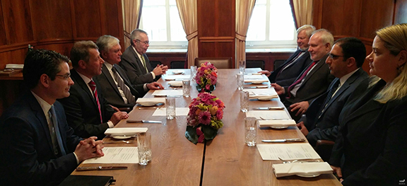 Armenian Foreign Minister Edward Nalbandian meets with OSCE Minsk Group Co-Chairs in Munich on Feb. 16, 2017 (Photo: Ministry of Foreign Affairs of Armenia)