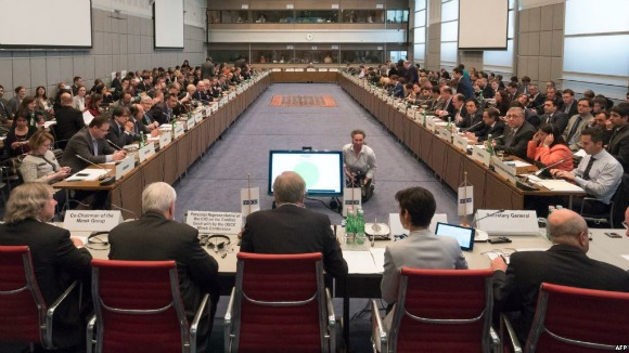 The OSCE permanent council meets to discuss the latest flare up in violence in Nagorno-Karabakh, in Vienna, April 5, 2016 (Photo: AFP)