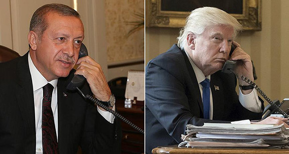 U.S. President Donald Trump (right) and Turkish counterpart Recep Tayyip Erdogan speak on the phone for the first time on Feb. 7, 2017
