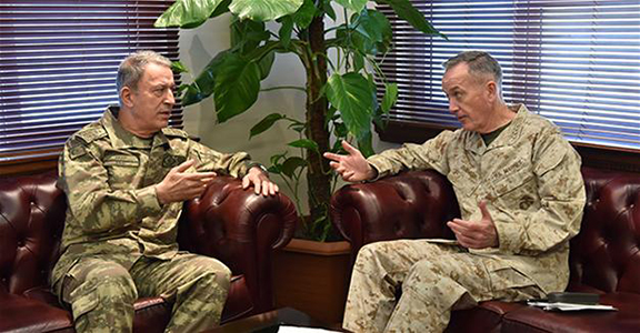 U.S. Chief of Staff General Joseph Dunford held a meeting on Feb. 17 with Turkish Chief of General Staff General Hulusi Akar at the İncirlik air base to discuss an offensive to capture Raqqa from the Islamic State of Iraq and the Levant (ISIL).
