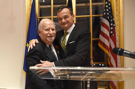 Gérard Araud (right), French ambassador to the United States, embraces Vartan Gregorian, president of Carnegie Corporation of New York. (Photo: Carnegie Corporation of New York)