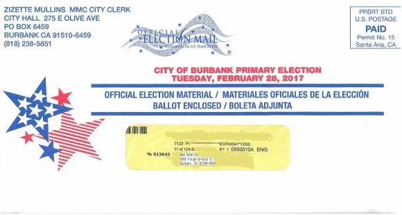 Burbank Ballot envelope