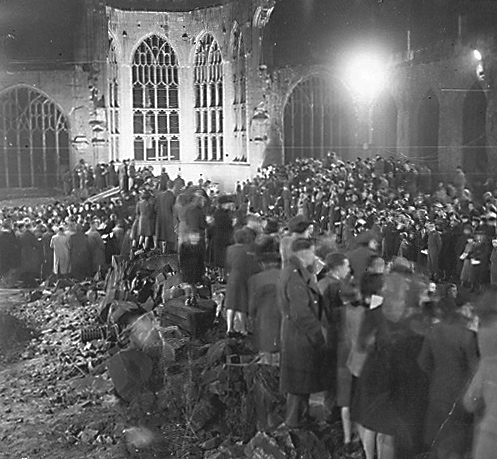 The destroyed Coventry Cathedral