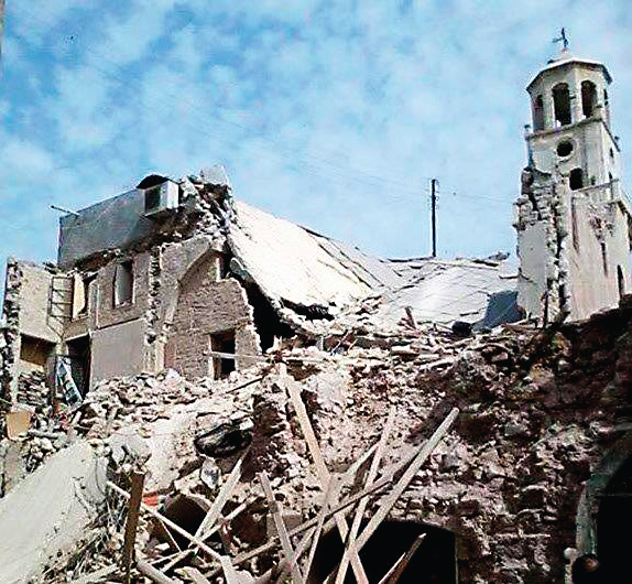 The destroyed Forty Martyrs Armenian Cathedral in Aleppo