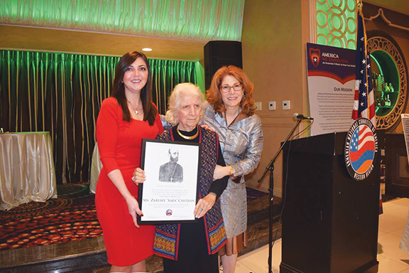 ANCA-WR Executive Director (left) and Genocide Education Project Chair Roxanne Makasdjian (right) with pioneer educator Sara Chitjian