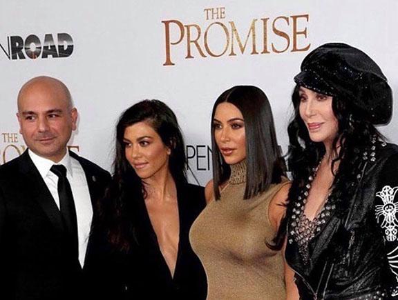"""The Promise"" producer Eric Esrailian with Kourtney and Kim Kardashian and Cher"