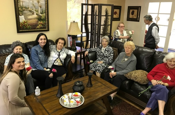 """AYF members with elderly at Ararat Home in Mission Hills, Calif. as part of """"24 Days of Action"""" campaign"""