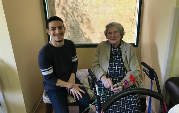 AYF member Manoug Manokian with resident of Ararat Home