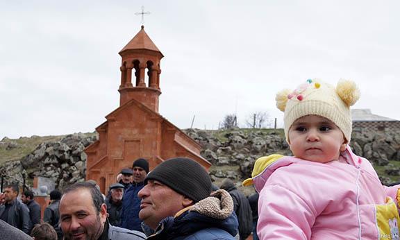 Hundreds attend the opening of Holy Cross Armenian Church in the Akhalkalak village of Gumburdo (Photo: Hetq)