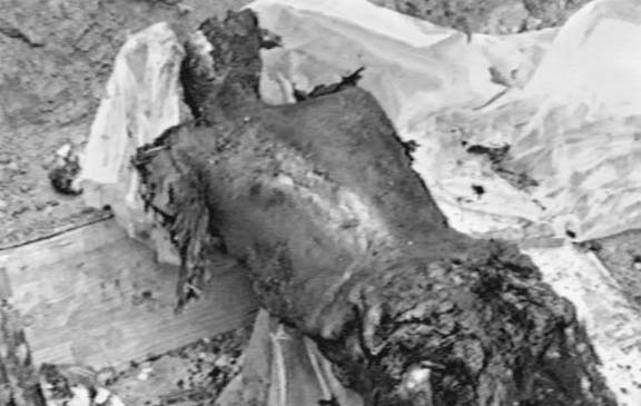 The charred remains of an Armenian resident of Maragha village