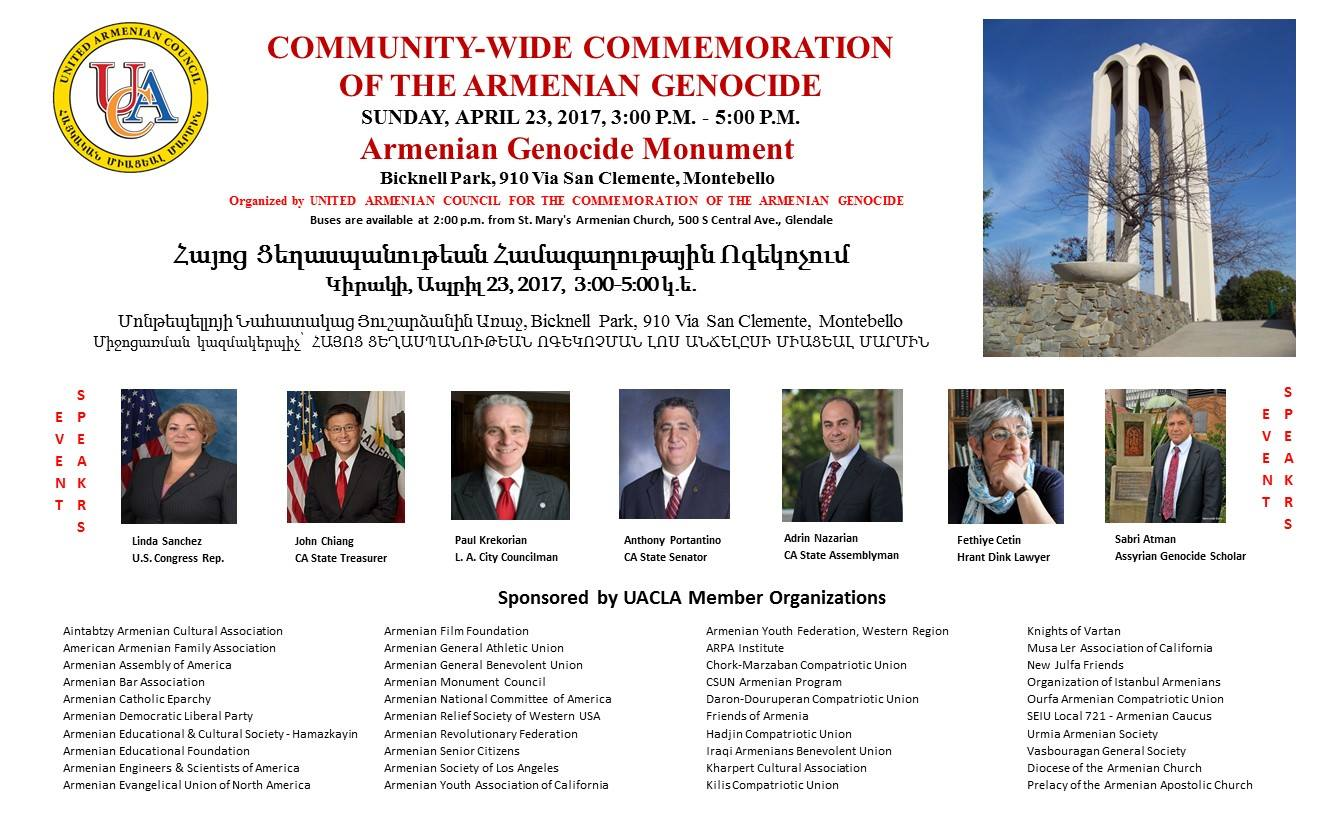 United Armenian Council for the Commemoration of the Armenian Genocide - Los Angeles will host an Armenian Genocide Commemoration event at the Armenian Genocide Martyrs Monument in Montebello, California on April 23, 2017 from 3-5pm