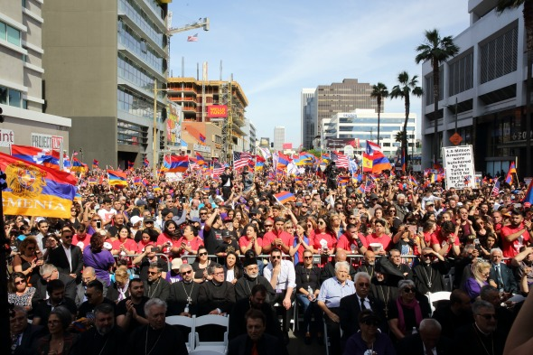 A view of the March for Justice to the Turkish Consulate on April 24 that brought together tens of thousands in Los Angeles.