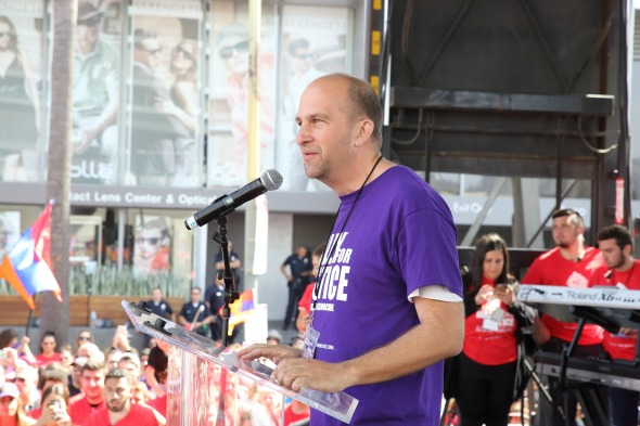 """LAUSD President Steve Zimmer led the crowd by chanting """"I will tell the truth"""" several times throughout his address."""