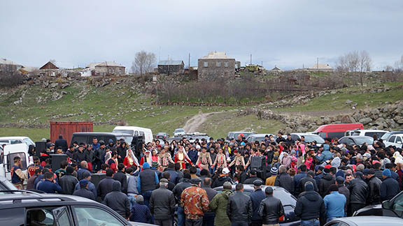 Community members celebrate the opening of   the Holy Cross Armenian Apostolic Church (Photo: Hetq)