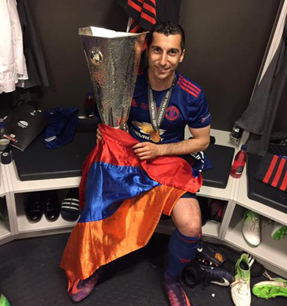 Mkhitaryan with the UEFA Europa League  trophy after the match