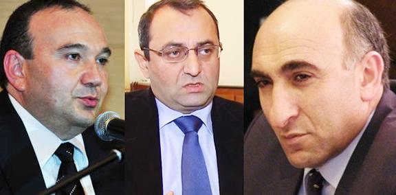 From left reappointed ARF ministers Levon Mkrtchyan, Artsvik Minasyan and Davit Lokyan