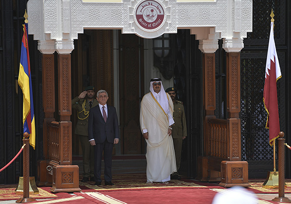 President of Armenia Serzh Sarkisian and counterpart of Qatar Emir of Qatar Tamim bin Hamad Al Thani meet on May 15, 2017 in Doha (Photo: Press Office of the President of Armenia)