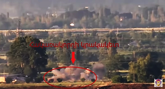 Screenshot of video footage by the Artsakh Defense Ministry