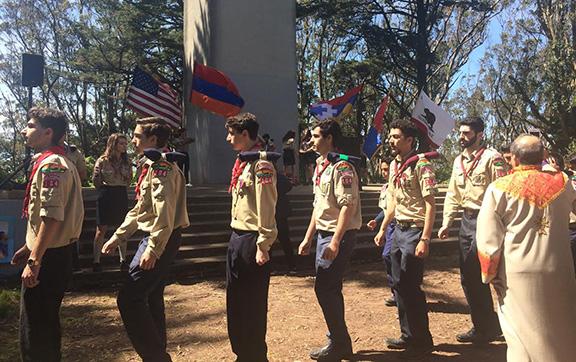 Boys Scouts at Mount Davidson Cross in San Francisco