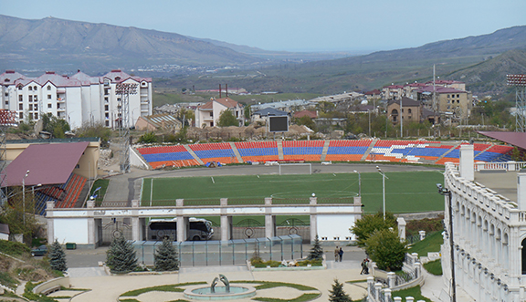 The Stepanakert Stadium, During the Artsakh war the stadium was used as a staging ground for helicopters (Photo by Karen Vanyan)