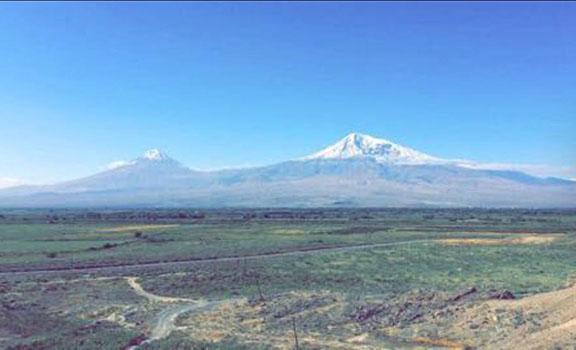 A beautiful fall morning view of Mount Ararat from Khor Virap