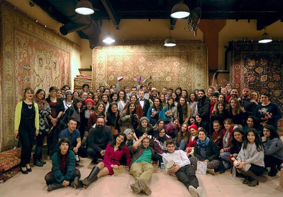 Birthright Armenia participants enjoying Christmas party at the Magerian Carpet Factory