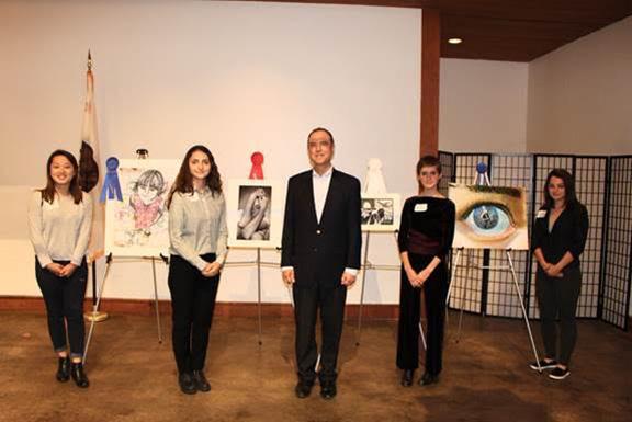 (From left to right) Mimi Suh, Goar Ayrapetyan, Rep. Schiff, Annabel Lawton Boardman, Monika Uguryan